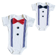 Formal Tuxedo Suspender Onesies with Black or Red Bow Tie -  Retro Checkered
