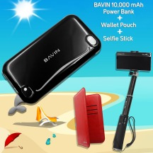 BAVIN 3 WAY COMBO (10000mAh POWER BANK, SELFIE STICK, WALLET POUCH)