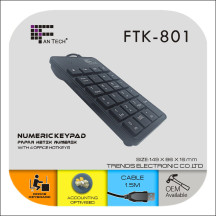 Fantech FTK-801 USB Numeric Keypad With 23 Keys Black