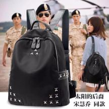 Korean bagpack (Black) With metals design accesories