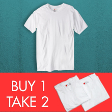 Hanes Buy 1 Take 2  Crew Neck and V-Neck  (White)